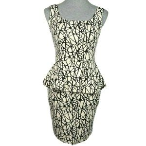 BAR III Knit Stretch Abstract Print Peplum Dress
